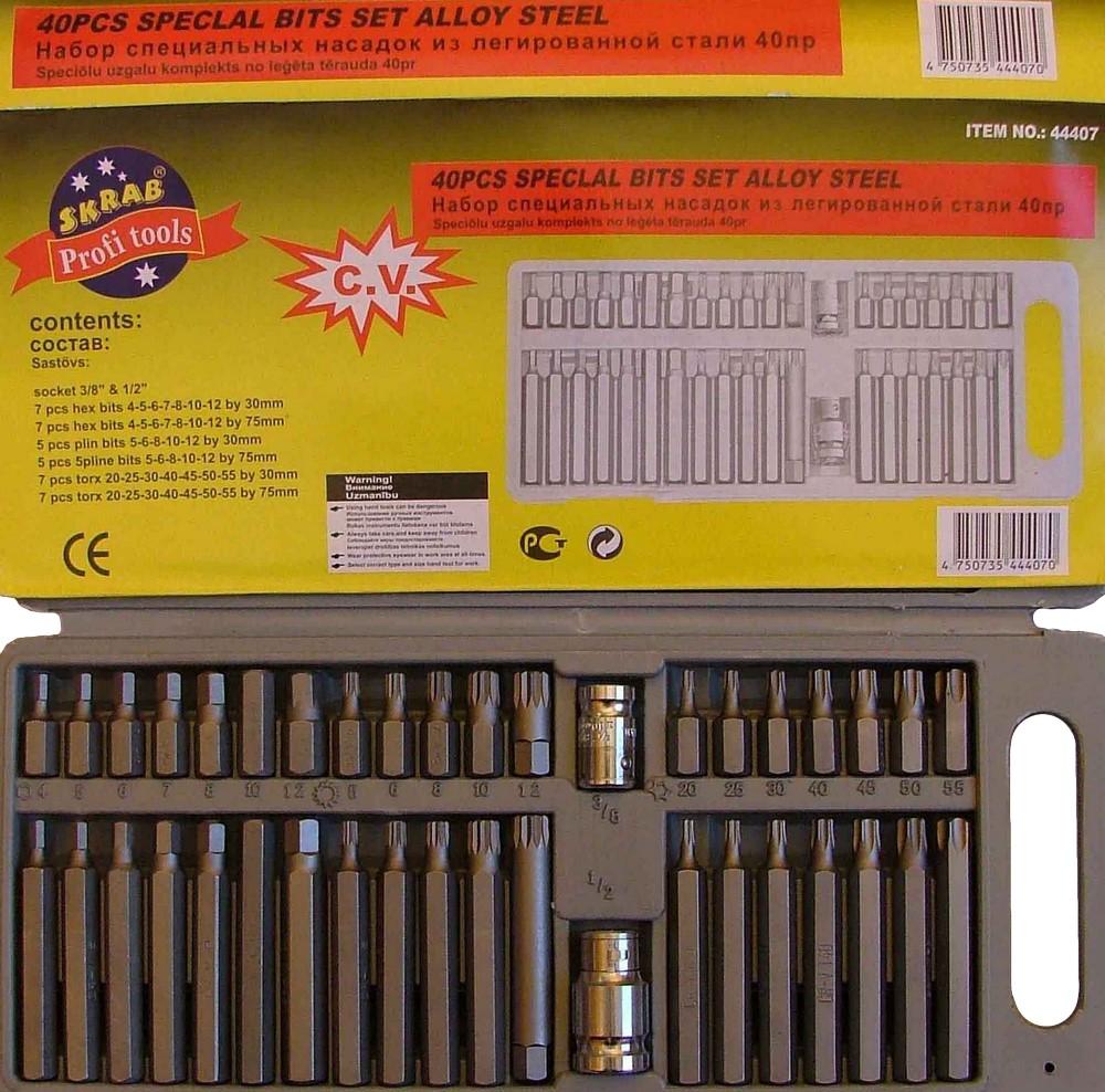 Набор спец. насадок 40пр CV - набор гибких экстракторов №5 - Наборы 6/12-гранных ключей